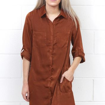 Soft as Silk Shirt Dress {Cinnamon}