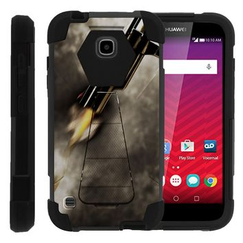 Huawei Union, Dual Layer Shell SHOCK Impact Kickstand Case with Unique Graphic Images for Y538 by Miniturtle - Close Up Gun Fire