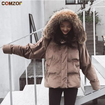 New arrival winter jacket women long sleeve fur collar parka korean loose thick coat woman vintage velvet jackets chaqueta mujer