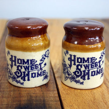 Vintage 1970s Ceramic Home Sweet Home Salt and Pepper Shakers - Cream, Tan, Brown, China Blue