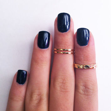 3 Above the Knuckle Gold Rings - Z Gold Combo - set of 3 rings stackable midi rings