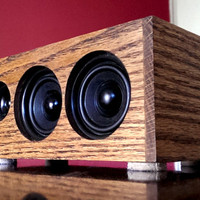 Stereo Speakers, Bluetooth + Line-in + Mp3 Player + FM Radio, Battery-Operated, Oak Wood Cabinet