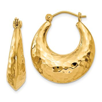 Wide Hammered Puffed Round Hoop Earrings in 14k Yellow Gold
