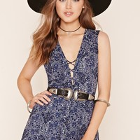 Abstract Paisley Lace-Up Romper