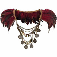 Dark red feather draped chain cape