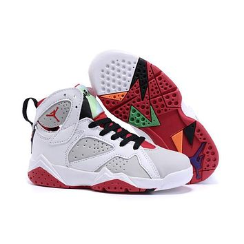 Nike Jordan Kids Air Jordan 7 Retro White/Red Kids Sneaker Shoe US 11C - 3Y