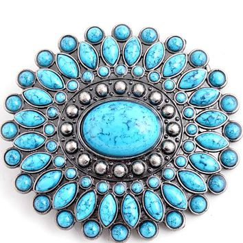 Rows of Turquoise Belt Buckle