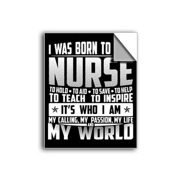 "FREE SHIPPING - ""Born To Be A Nurse"" Vinyl Decal Sticker (5"" tall) - Limited Time Only!"