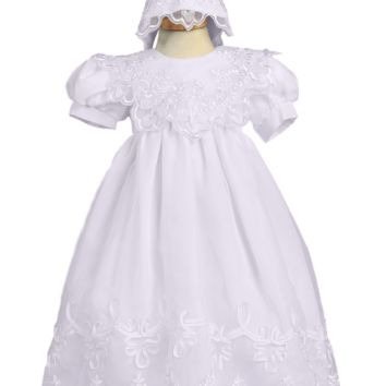 Organza & Satin Girls Christening Gown w. Embroidered Overlay 0-24m