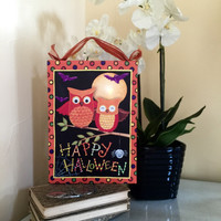 Happy Halloween Owl Lighted Canvas Wall Art