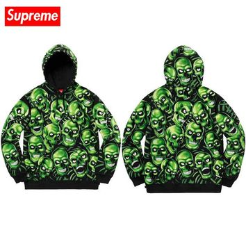 Supreme high street street fashion green skull head full of men and women hooded personality hooded sweater