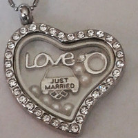 30 mm Silver Heart w/Rhinestones Floating Locket filled with Wedding Themed Charms