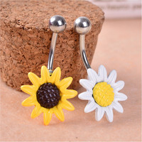 Sun Flower Stainless Steel Piercing Belly Button Ring