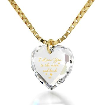 """I Love You to the Moon and Back"", 14k Gold Necklace, Swarovski"