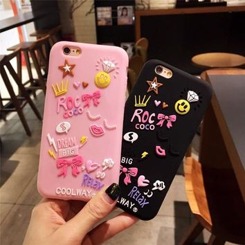 For Iphone 6 6plus 7 7plus mobile phone shell summer star love diamond smile face crown bow silicone protective cover 3D cases