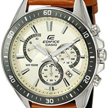 Casio Men's 'Edifice' Quartz Stainless Steel and Leather Watch, Color:Brown (Model: EFR-552L-7AVCF)