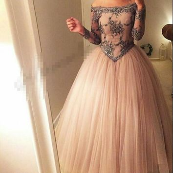 Arabian Design Dark Pink  Bateau Appliqued Beaded Long Sleeve Puffy Tulle Prom Dresses