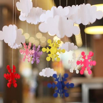 Christmas Felt Snowflakes Clouds Xmas Party Window Wall Hanging Decor
