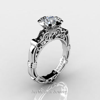 Art Masters Caravaggio 10K White Gold 1.0 Ct White Sapphire Black Diamond Engagement Ring R623-10KWGBDWS