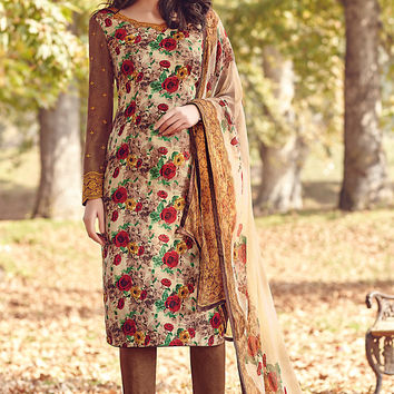 Brown and Cream Printed Tussar Silk Straight Cut Suit