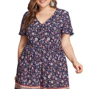 Exotic Paisley And Flower Print Romper