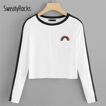 SweatyRocks White Preppy Rainbow Patch Contrast Panel Crop Tee Embroidery Long Sleeve Pullovers 2018 Autumn Sporting Women Tees