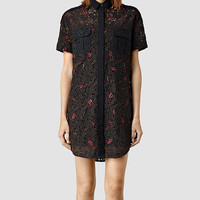 Womens Leela Embroidered Shirt Dress (Black) | ALLSAINTS.com
