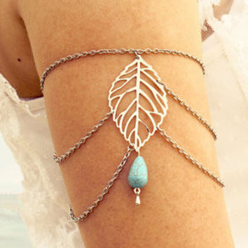 Silver Leaf and Turquoise Stone Arm Chain