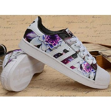 Adidas Superstar Fashion Women Flower Print Running Old Skool Sneakers Sport Shoes