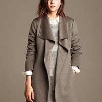 Banana Republic Womens Draped Wool Coat Size XL - Taupe