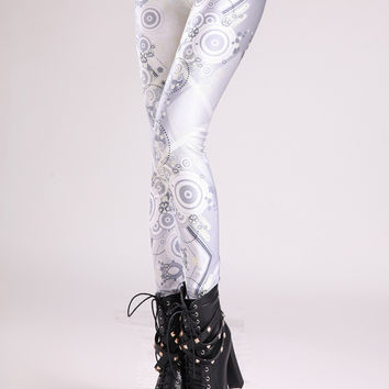 Silver Machinery Gear Digital Print Leggings