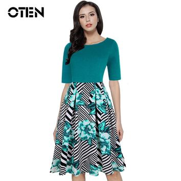 OTEN 2018 Spring Summer Fashion Clothes Women Vintage Patchwork Half Sleeve Slim Fit And Flare Floral Swing Dress With Pockets