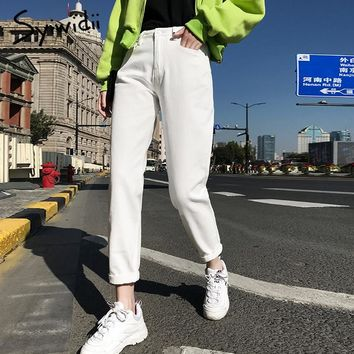 cotton White Jeans for Women High Waist Harem Mom Jeans spring 2019 new plus size black women jeans denim pants beige blue