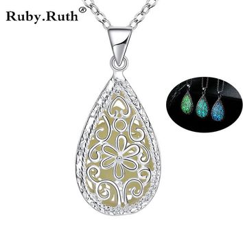Fashion Luminous Glowing Stone Locket Necklace Jewelry Silver Hollow Water Drop Necklace