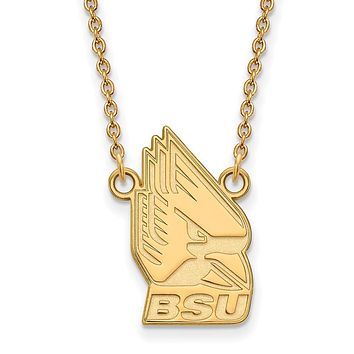 NCAA 14k Gold Plated Silver Ball State Large Pendant Necklace