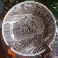 """Wood & Sons """"Westmorland"""" Brown Transferware Plate Horse Cart English Manor  Mountains"""