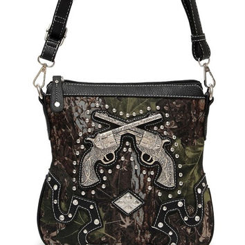 * Camouflage Print Gun And Studs Accented Cross Body Messenger Bag In Black
