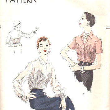 1940s 50s Hollywood Fashion Vintage Vogue Sewing Pattern Button Front Pointed Collar Pleated Bodice Shaped Yoke Bust 36