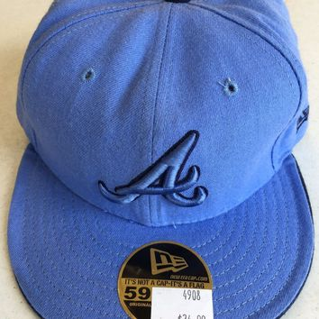 ATLANTA BRAVES MLB NEW ERA 5950 SKY BLUE FITTED HAT