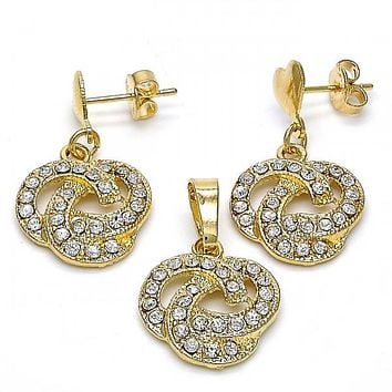 Gold Layered 10.63.0579 Earring and Pendant Adult Set, Love Knot Design, with White Crystal, Polished Finish, Gold Tone