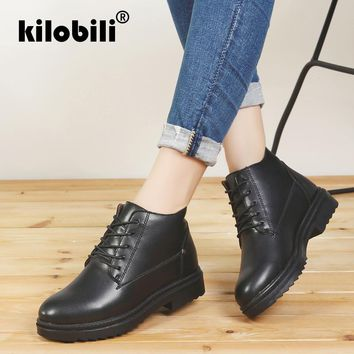 kilobili 2018 Winter Autumn Women Ankle Boots PU Leather Mid-Calf Booties Women High Waterproof Rubber Snow Boots Footwear Black