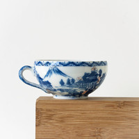 Vintage Japanese Blue and White Teacup, Geisha Lithophane Eggshell Porcelain