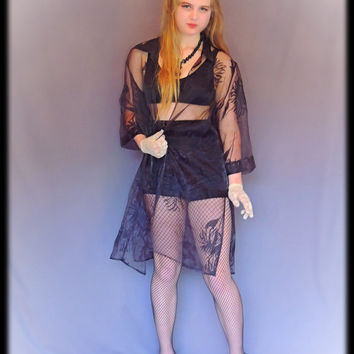 Vintage sheer black lace kimono / floral print jacket / misty gauze wrap top / goth boho coat / evenings festivals or parties