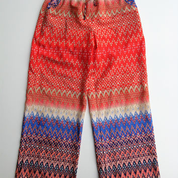 Printed Wide Leg High Waist Palazzo Lounge Pants M