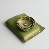 Green Leather Wallet, Leather Card Wallet, Wallet with Flower, Woman's Wallet