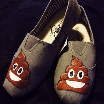 Funny Emoji Custom Shoes Economy Hand Painted Poop Shoes