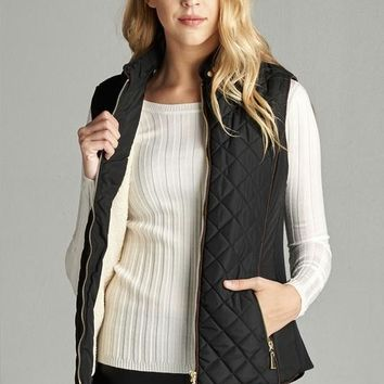 faux shearling lined quilted vest