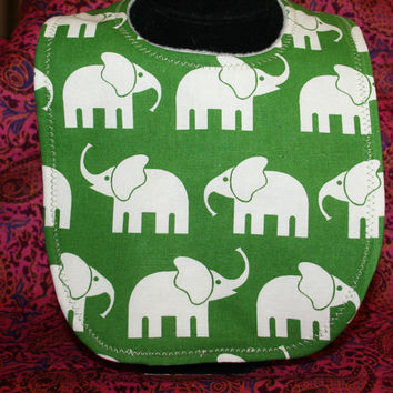 Baby Bib White Elephants on Green