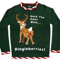Ugly Christmas Sweater - Rudolph Dingleberries Sweater in Green (Medium) By Festified