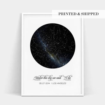 Constellation Map Custom Print, Real Night Sky Print, Custom Star Poster, New Baby Gift, Wedding Gift, Engagement Gift, Important Dates Gift